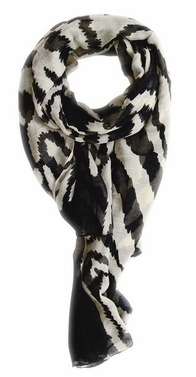 Black-Cream Zebra Animal Print Scarf/wrap/shawl