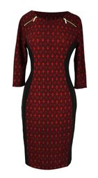 Elegant Black and Multi Printed � Sleeve Loose Mini Shift Dress (Abstract Burgundy)