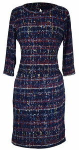 Navy Multi Printed ¾ Sleeve Loose Mini Shift Dress