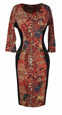 Paisley Orange Multi Printed � Sleeve Loose Mini Shift Dress