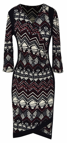 Elegant Black and Multi Printed ¾ Sleeve Loose Mini Shift Dress (Tribal Burgundy)