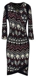 Tribal Burgundy Multi Printed � Sleeve Loose Mini Shift Dress