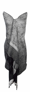 Elegant Black & Grey Reversible Paisley Pashmina Silk Shawl Wrap