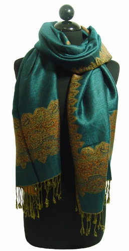 Dark Green Jacquard Paisley Border Pashmina Shawl Wrap