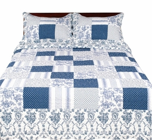 Blue Emroidered Reversible Quilt Set with Shams - 100% Cotton Fill, King