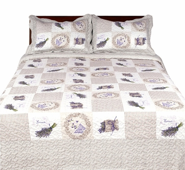 Lavender Emroidered Reversible Quilt Set with Shams - 100% Cotton Fill, King