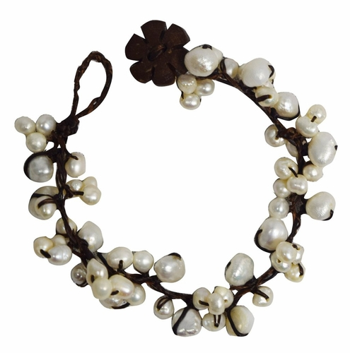 Jewelry Natural Fresh Water Pearls Coconut Wood & Waxed Thread Bracelet