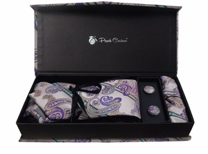 Beige Purple Men's Necktie Cufflinks Pocket Square Handkerchief Set (Paisley)