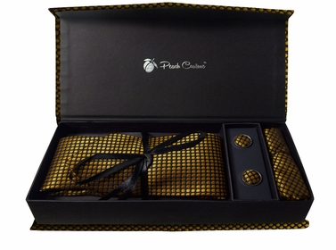 Elegant Men's Silk Feel Necktie Cufflinks Pocket Square Handkerchief Set (Polka Dot, Black/Gold)