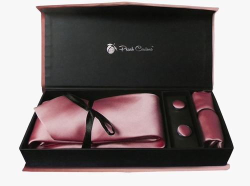 Elegant Men's Silk Feel Necktie Cufflinks Pocket Square Handkerchief Set (Solid, Rose Pink)