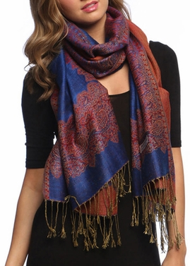 Royal Blue Ravishing Reversible Pashmina Shawl with Braided Fringe