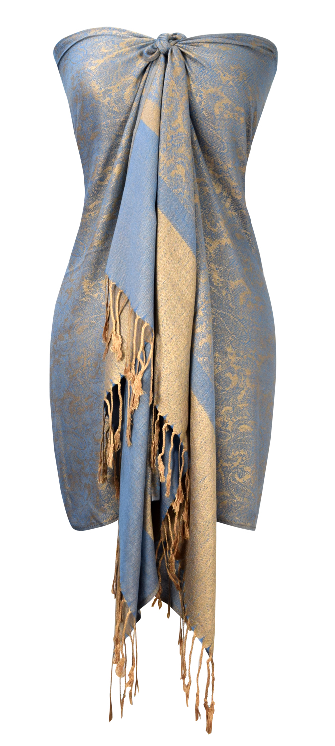 8f8c424cf38 Blue Gold Paisley Shawl Wrap for Women | Peach Couture