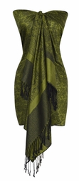Elegant Vintage Jacquard Paisley Shawl Wrap (Dark Green and Black)