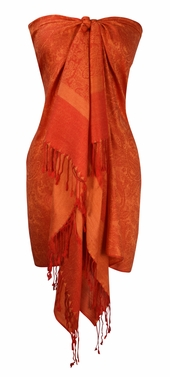 Red/Peach Vintage Jacquard Paisley Shawl Wrap
