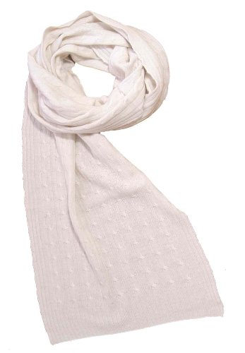 Off White Warm Cashmere and Wool Cable Knit Scarf