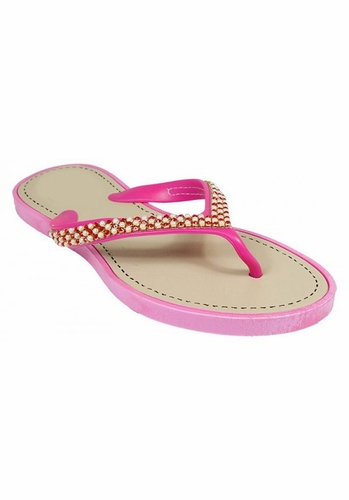 Pink Beaded Pearl Embellished Flat Flip Flop Sandals