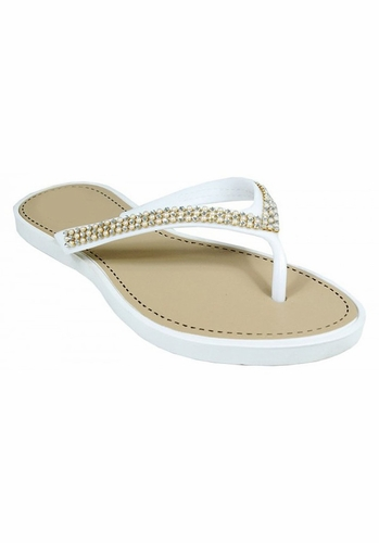 White Beaded Pearl Embellished Flat Flip Flop Sandals