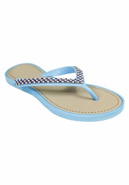 Blue Beaded Pearl Embellished Flat Flip Flop Sandals