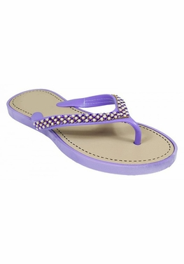 Purple Beaded Pearl Embellished Flat Flip Flop Sandals