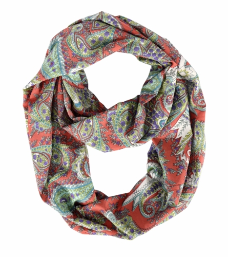Coral Colorful Rainbow Paisley Print Infinity Loop Scarf