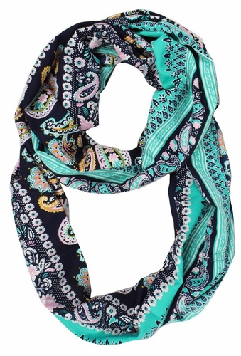 Teal Colorful Rainbow Paisley Print Infinity Loop Scarf