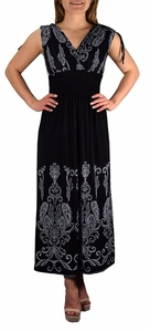Exotic Tahiti Multicolor Border Print Maxi Dress (Paisley Black and White)