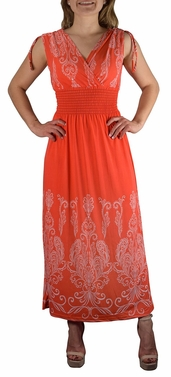 Orange-White Paisley Tahiti Multi Color Border Print Maxi Dress
