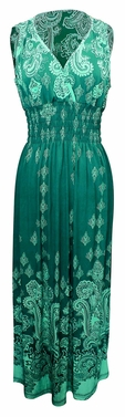 Teal-White Paisley Exotic Multi-Color Border Print Maxi Dress