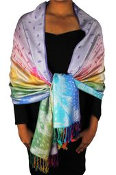 Faded Lavender Rainbow Silky Tropical Feather Pashmina Wrap Shawl