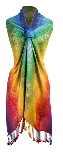 Faded Rainbow Silky Tropical Hibiscus Floral Pashmina Wrap Shawl Scarf