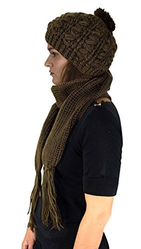 Green Cable Knit Beret Beanie Hat and Scarf Set