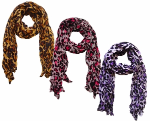 Fashionable & Trendy Crinkled Leopard Print 3 Pack Scarf Set