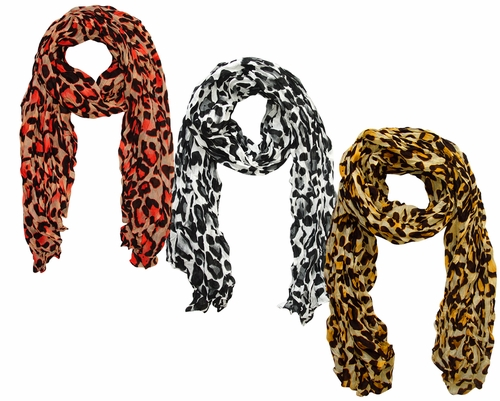 Trendy Crinkled Leopard Print 3 Pack Scarf Set (Hot Pink,White,Yellow)