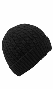 Fashionable Unisex Thick Warm Twisted Cable Knit Winter Beanie Cap Hat (Black)