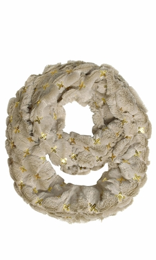 Beige Faux fur Solid Color Plush Cowl Collar Infinity Loop Scarf  -  Limit One Per