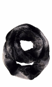 Black Pink Faux fur Two Tone Plush Cowl Collar Infinity Loop Scarf