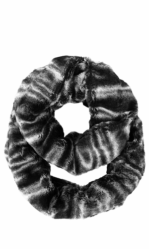 Faux fur Two Tone Plush Cowl Collar Infinity Loop Scarf Black Swirl