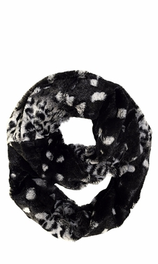 Black White Faux fur Two Tone Plush Cowl Collar Infinity Loop Scarf
