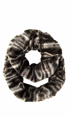 Brown Faux fur Two Tone Plush Cowl Collar Infinity Loop Scarf Swirl