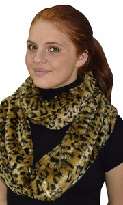 Golden Brown Faux fur Two Tone Plush Cowl Collar Infinity Loop Scarf