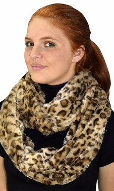 Tan Faux fur Two Tone Plush Cowl Collar Infinity Loop Scarf
