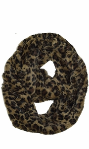 Faux fur Two Tone Plush Cowl Collar Infinity Loop Scarf Taupe