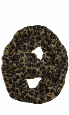 Taupe Faux fur Two Tone Plush Cowl Collar Infinity Loop Scarf