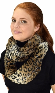 Faux fur Two Tone Plush Cowl Collar Infinity Loop Scarf Two Tone Tan