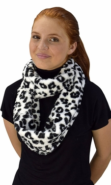 White Faux fur Two Tone Plush Cowl Collar Infinity Loop Scarf