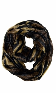 Zebra Brown Faux fur Two Tone Plush Cowl Collar Infinity Loop Scarf
