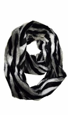 Grey Faux fur Two Tone Plush Cowl Collar Infinity Loop Scarf Zebra