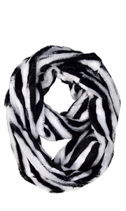 Zebra White Faux fur Two Tone Plush Cowl Collar Infinity Loop Scarf
