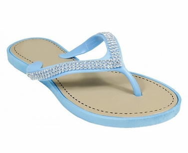 Blue Studded Strap Gem Sandals Flat Summer Flip Flop