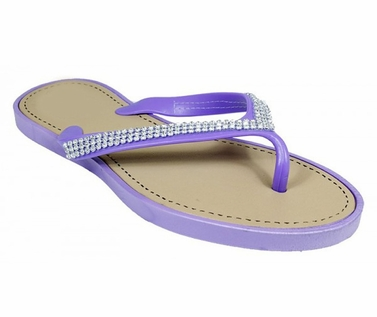 Purple Studded Strap Gem Sandals Flat Summer Flip Flop